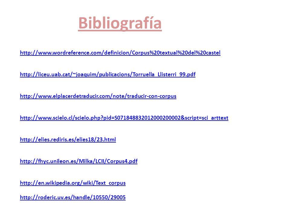 Bibliografía http://www.wordreference.com/definicion/Corpus%20textual%20del%20castel http://liceu.uab.cat/~joaquim/publicacions/Torruella_Llisterri_99.pdf http://www.elplacerdetraducir.com/note/traducir-con-corpus http://www.scielo.cl/scielo.php?pid=S071848832012000200002&script=sci_arttext http://elies.rediris.es/elies18/23.html http://fhyc.unileon.es/Milka/LCII/Corpus4.pdf http://en.wikipedia.org/wiki/Text_corpus http://roderic.uv.es/handle/10550/29005 http://www.wordreference.com/definicion/Corpus%20textual%20del%20castel http://liceu.uab.cat/~joaquim/publicacions/Torruella_Llisterri_99.pdf http://www.elplacerdetraducir.com/note/traducir-con-corpus http://www.scielo.cl/scielo.php?pid=S071848832012000200002&script=sci_arttext http://elies.rediris.es/elies18/23.html http://fhyc.unileon.es/Milka/LCII/Corpus4.pdf http://en.wikipedia.org/wiki/Text_corpus http://roderic.uv.es/handle/10550/29005