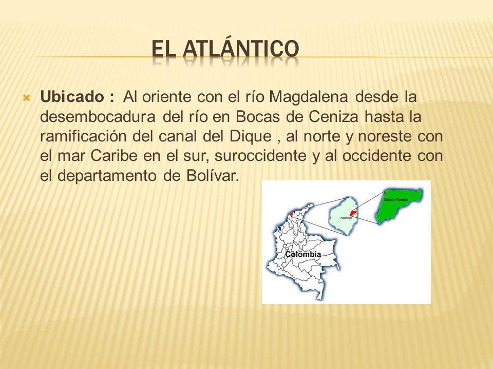 Ubicado : Al oriente con el río Magdalena desde la desembocadura del río en Bocas de Ceniza hasta la ramificación del canal del Dique, al norte y noreste con el mar Caribe en el sur, suroccidente y al occidente con el departamento de Bolívar.