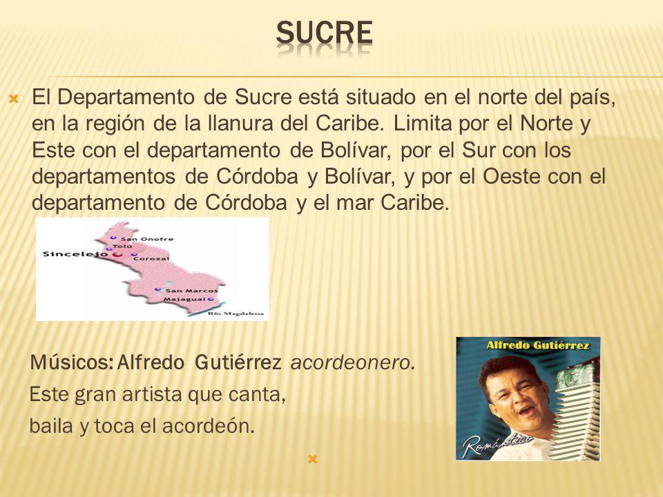 El Departamento de Sucre está situado en el norte del país, en la región de la llanura del Caribe.