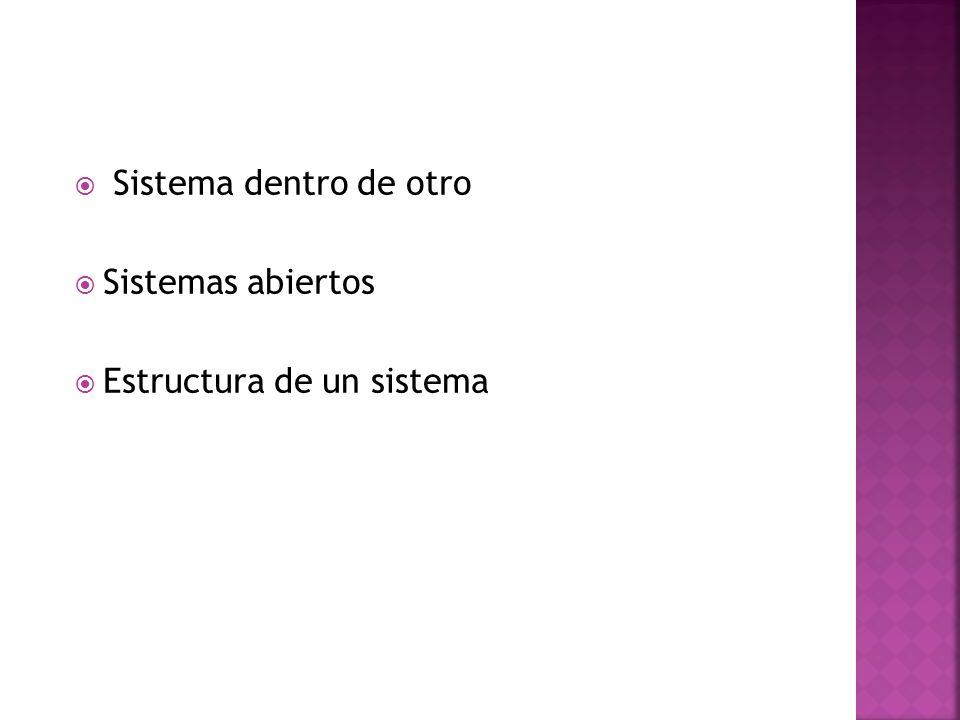 Sistema dentro de otro Sistemas abiertos Estructura de un sistema