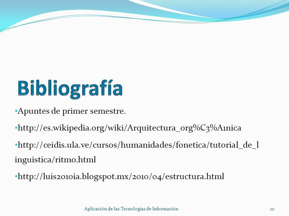 Apuntes de primer semestre. http://es.wikipedia.org/wiki/Arquitectura_org%C3%A1nica http://ceidis.ula.ve/cursos/humanidades/fonetica/tutorial_de_l ing