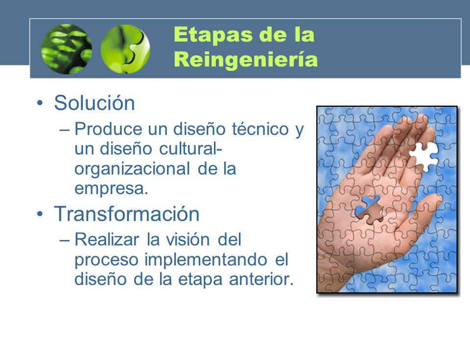 Etapas de la Reingeniería Solución –Produce un diseño técnico y un diseño cultural- organizacional de la empresa. Transformación –Realizar la visión d
