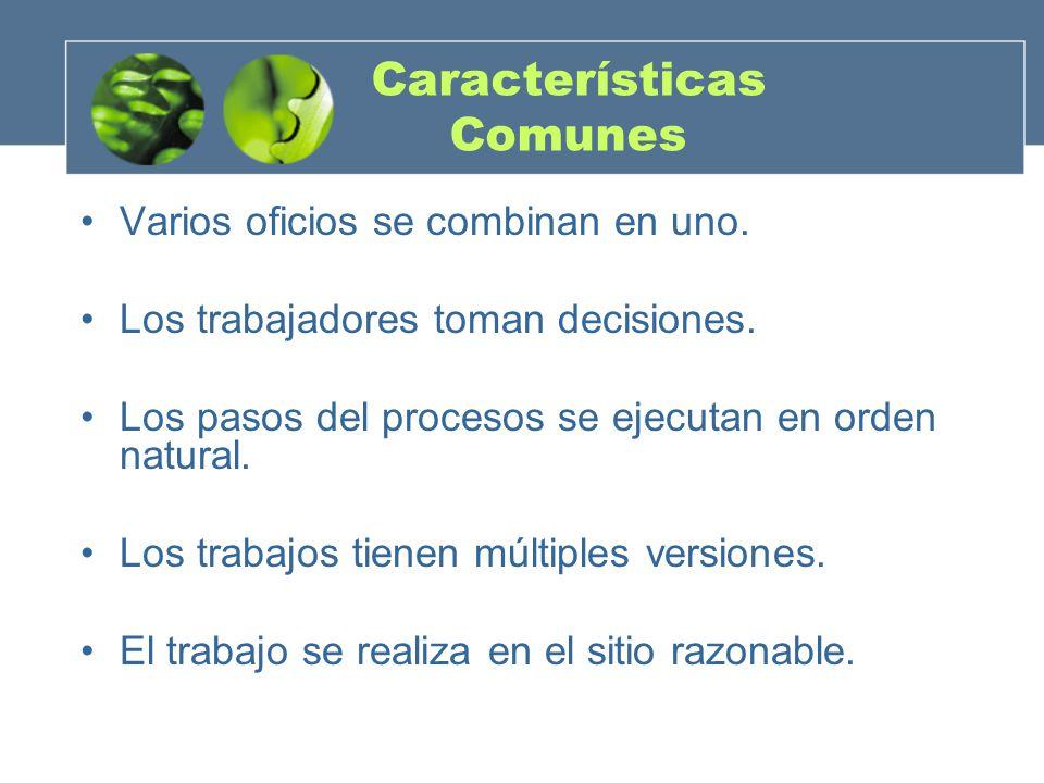 Características Comunes Varios oficios se combinan en uno. Los trabajadores toman decisiones. Los pasos del procesos se ejecutan en orden natural. Los