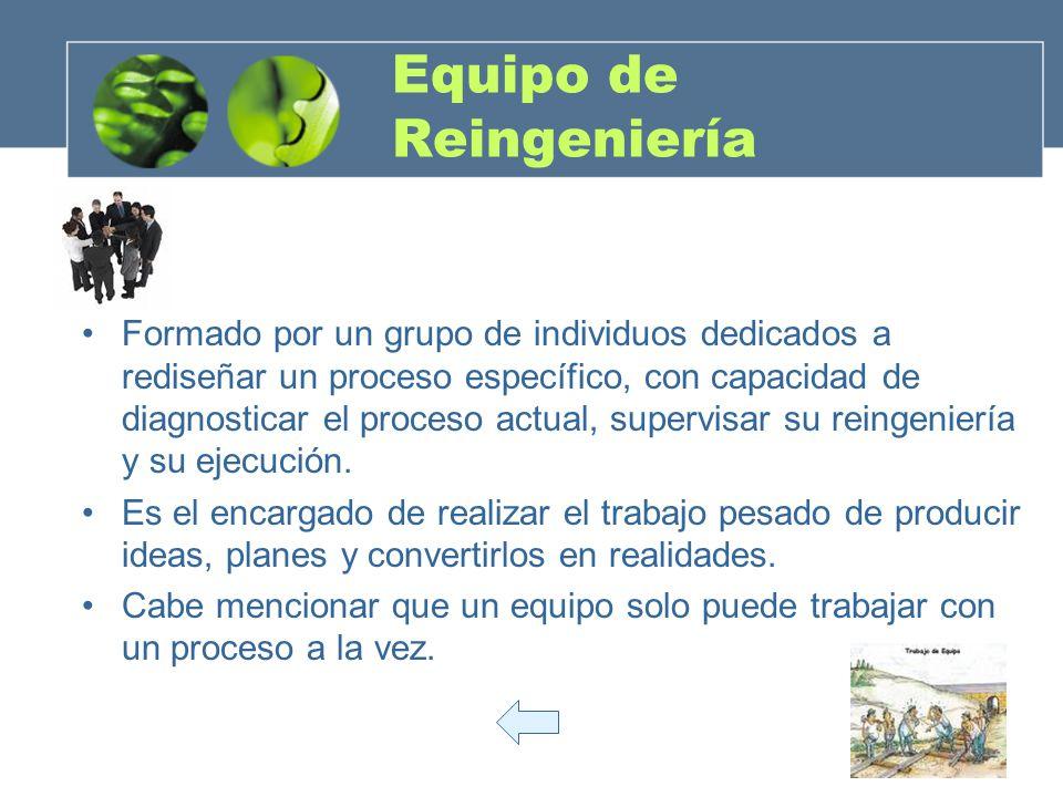 Equipo de Reingeniería Formado por un grupo de individuos dedicados a rediseñar un proceso específico, con capacidad de diagnosticar el proceso actual