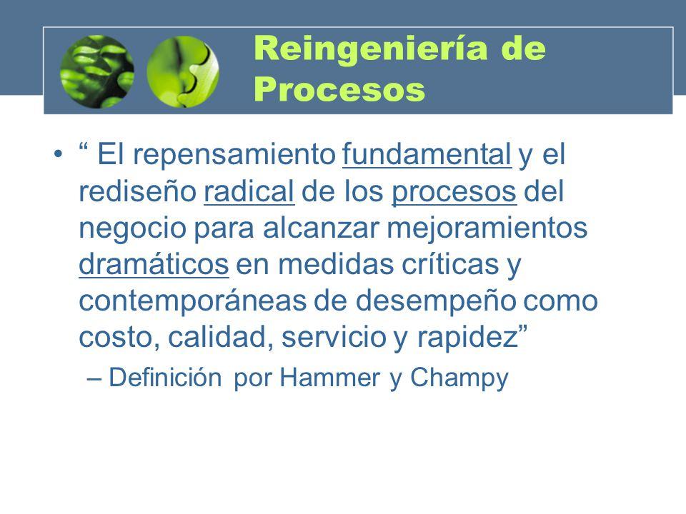 El repensamiento fundamental y el rediseño radical de los procesos del negocio para alcanzar mejoramientos dramáticos en medidas críticas y contemporá