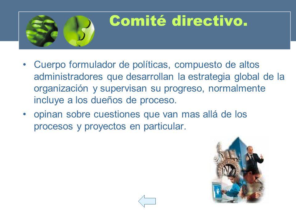 Comité directivo. Cuerpo formulador de políticas, compuesto de altos administradores que desarrollan la estrategia global de la organización y supervi