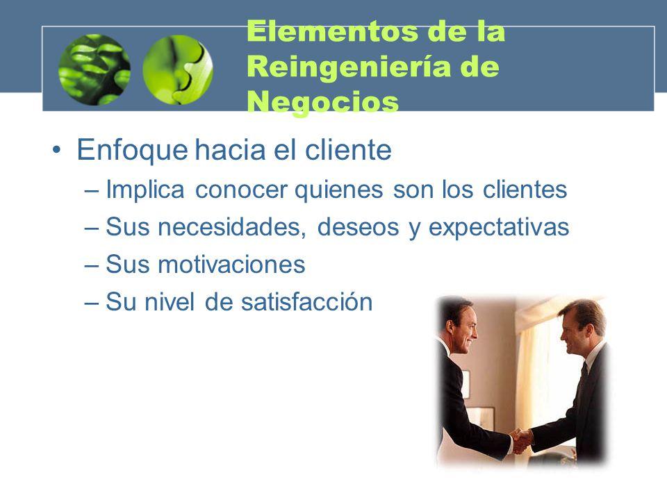 Elementos de la Reingeniería de Negocios Enfoque hacia el cliente –Implica conocer quienes son los clientes –Sus necesidades, deseos y expectativas –S
