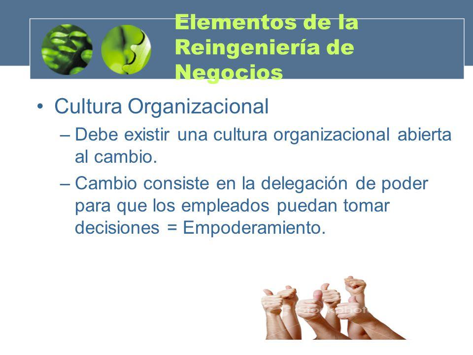 Elementos de la Reingeniería de Negocios Cultura Organizacional –Debe existir una cultura organizacional abierta al cambio. –Cambio consiste en la del