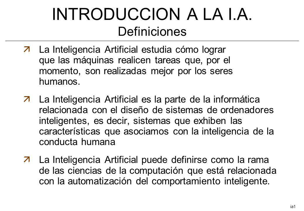INTRODUCCION A LA I.A. Definiciones äLa Inteligencia Artificial estudia cómo lograr que las máquinas realicen tareas que, por el momento, son realizad