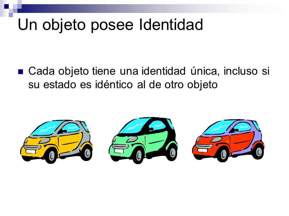 Un objeto posee Identidad Cada objeto tiene una identidad única, incluso si su estado es idéntico al de otro objeto