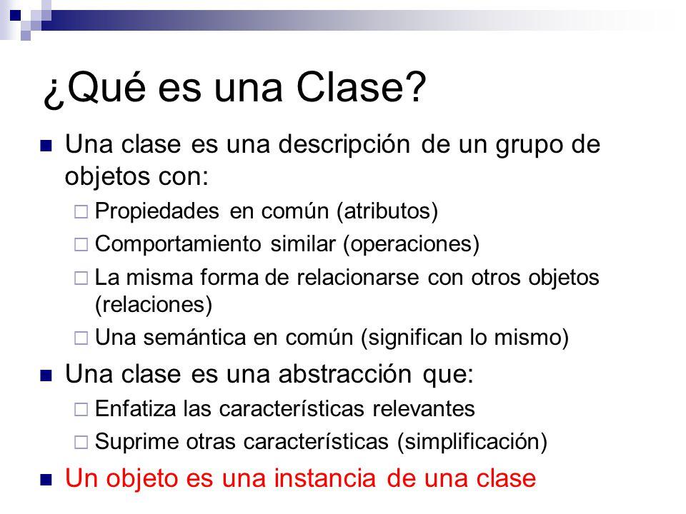 ¿Qué es una Clase? Una clase es una descripción de un grupo de objetos con: Propiedades en común (atributos) Comportamiento similar (operaciones) La m