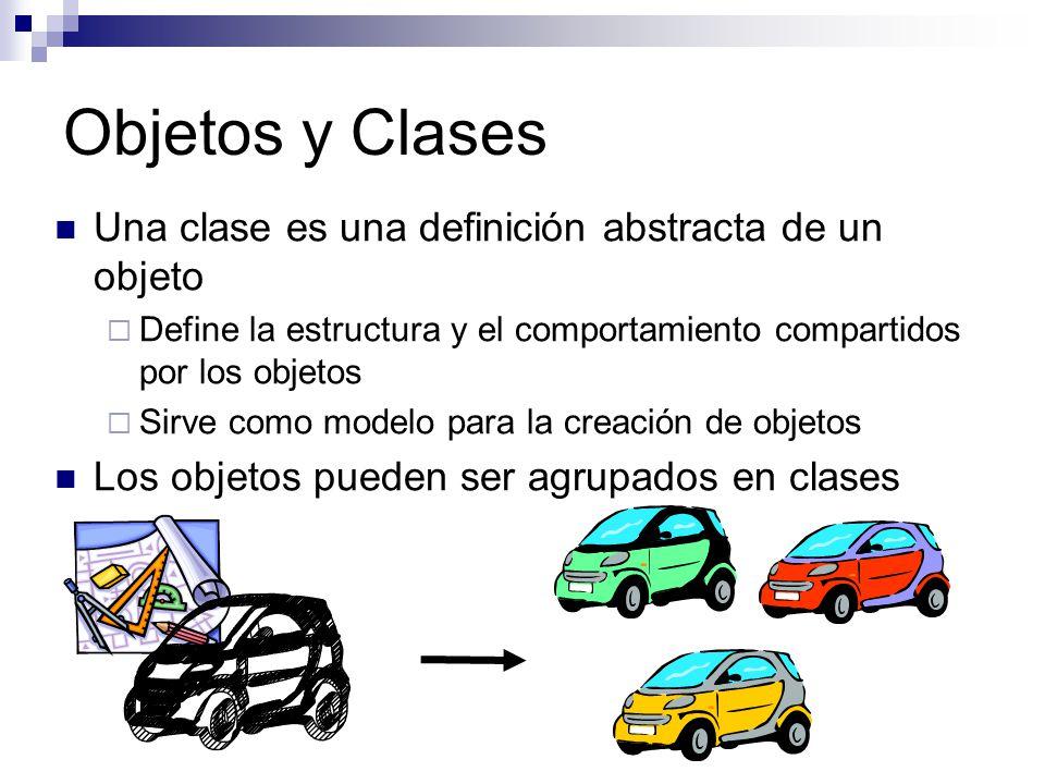 Objetos y Clases Una clase es una definición abstracta de un objeto Define la estructura y el comportamiento compartidos por los objetos Sirve como mo