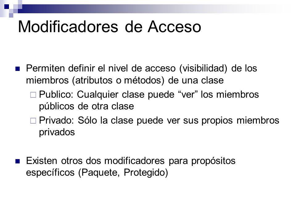 Modificadores de Acceso Permiten definir el nivel de acceso (visibilidad) de los miembros (atributos o métodos) de una clase Publico: Cualquier clase