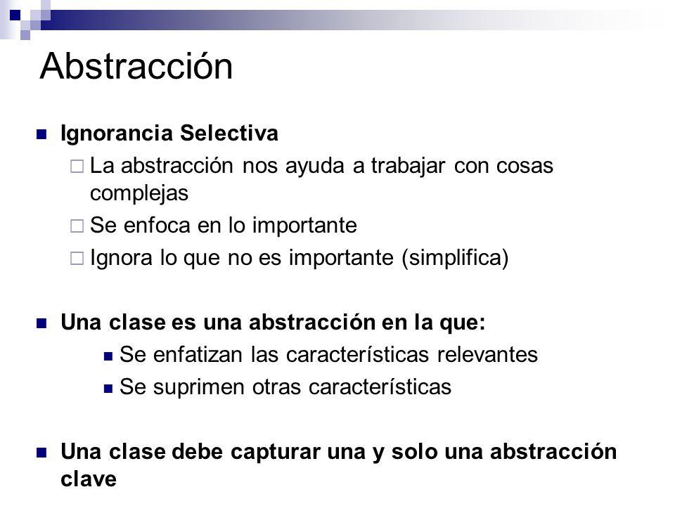 Abstracción Ignorancia Selectiva La abstracción nos ayuda a trabajar con cosas complejas Se enfoca en lo importante Ignora lo que no es importante (si