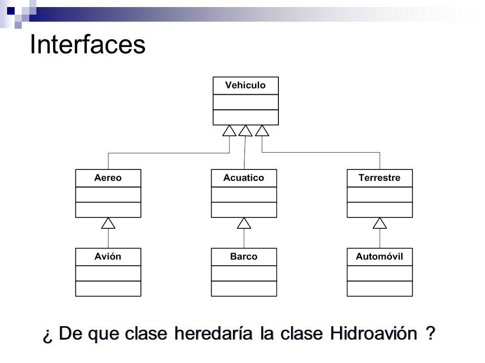 Interfaces ¿ De que clase heredaría la clase Hidroavión ?