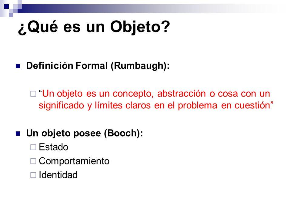 ¿Qué es un Objeto? Definición Formal (Rumbaugh): Un objeto es un concepto, abstracción o cosa con un significado y límites claros en el problema en cu