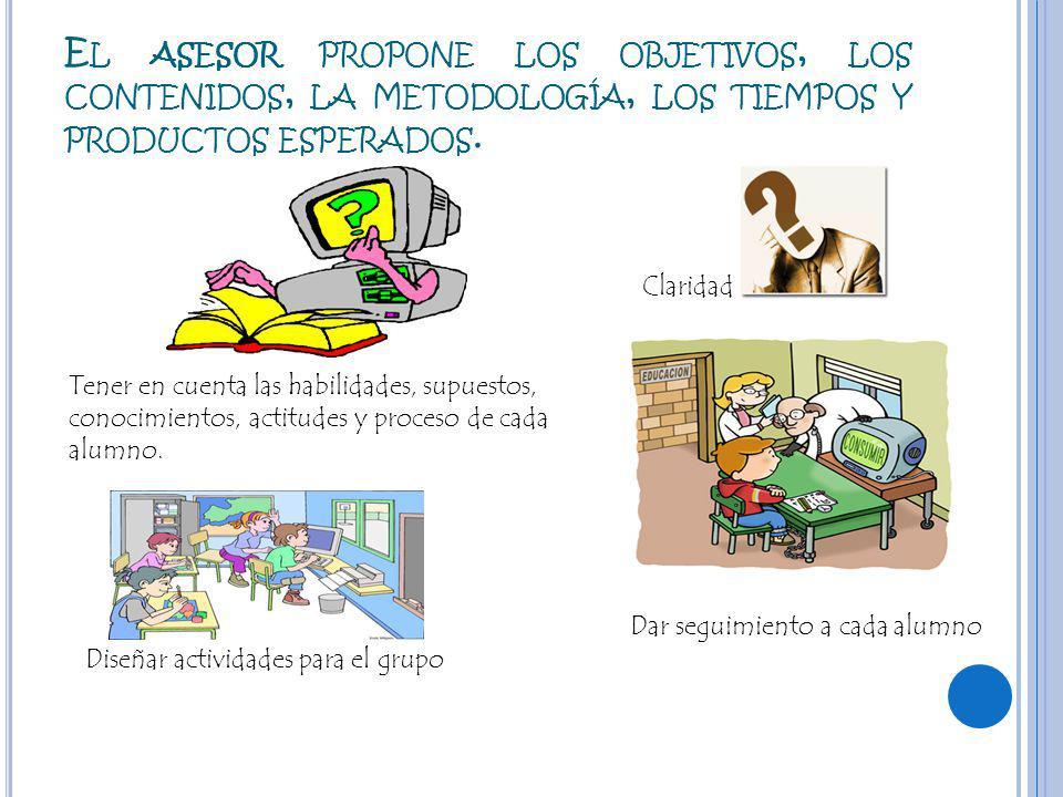 E L ASESOR PROPONE LOS OBJETIVOS, LOS CONTENIDOS, LA METODOLOGÍA, LOS TIEMPOS Y PRODUCTOS ESPERADOS.