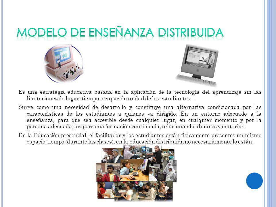 Es una estrategia educativa basada en la aplicación de la tecnología del aprendizaje sin las limitaciones de lugar, tiempo, ocupación o edad de los estudiantes..