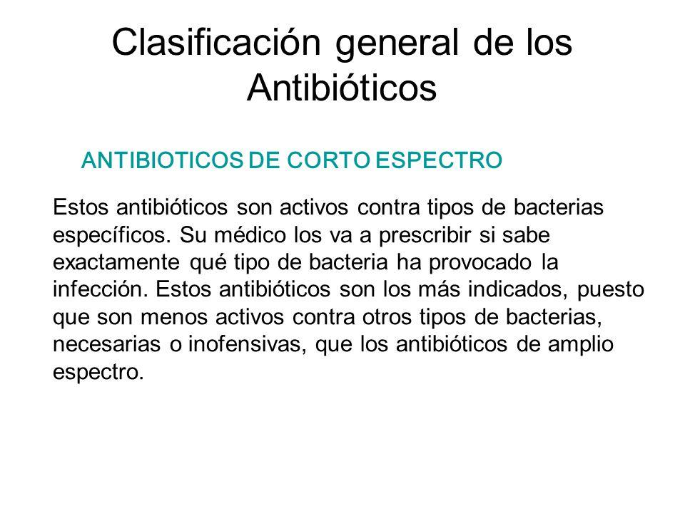 Clasificación general de los Antibióticos Estos antibióticos son activos contra tipos de bacterias específicos. Su médico los va a prescribir si sabe