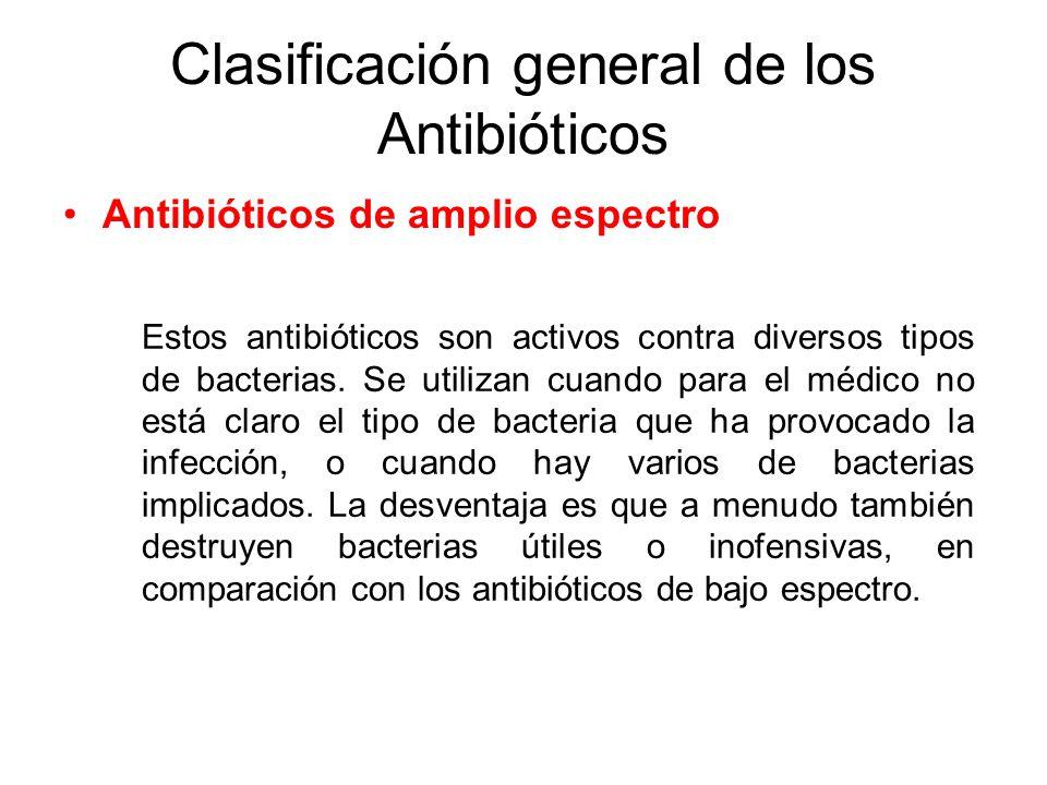 Clasificación general de los Antibióticos Antibióticos de amplio espectro Estos antibióticos son activos contra diversos tipos de bacterias. Se utiliz