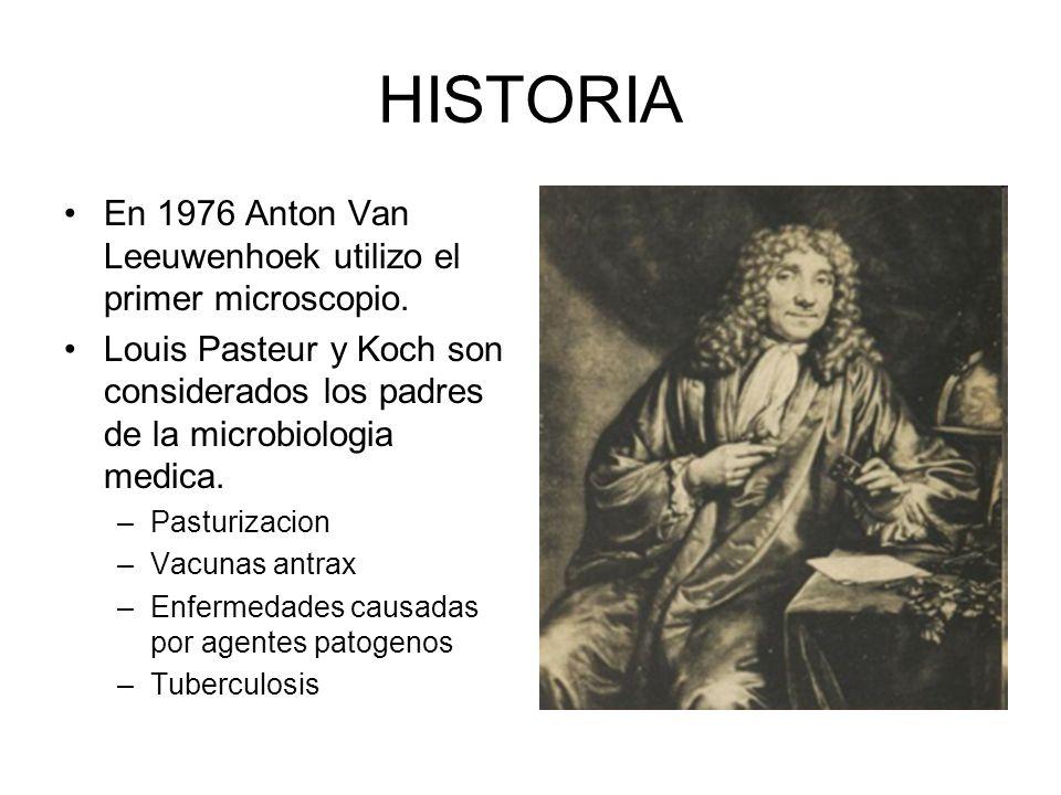 HISTORIA En 1976 Anton Van Leeuwenhoek utilizo el primer microscopio. Louis Pasteur y Koch son considerados los padres de la microbiologia medica. –Pa