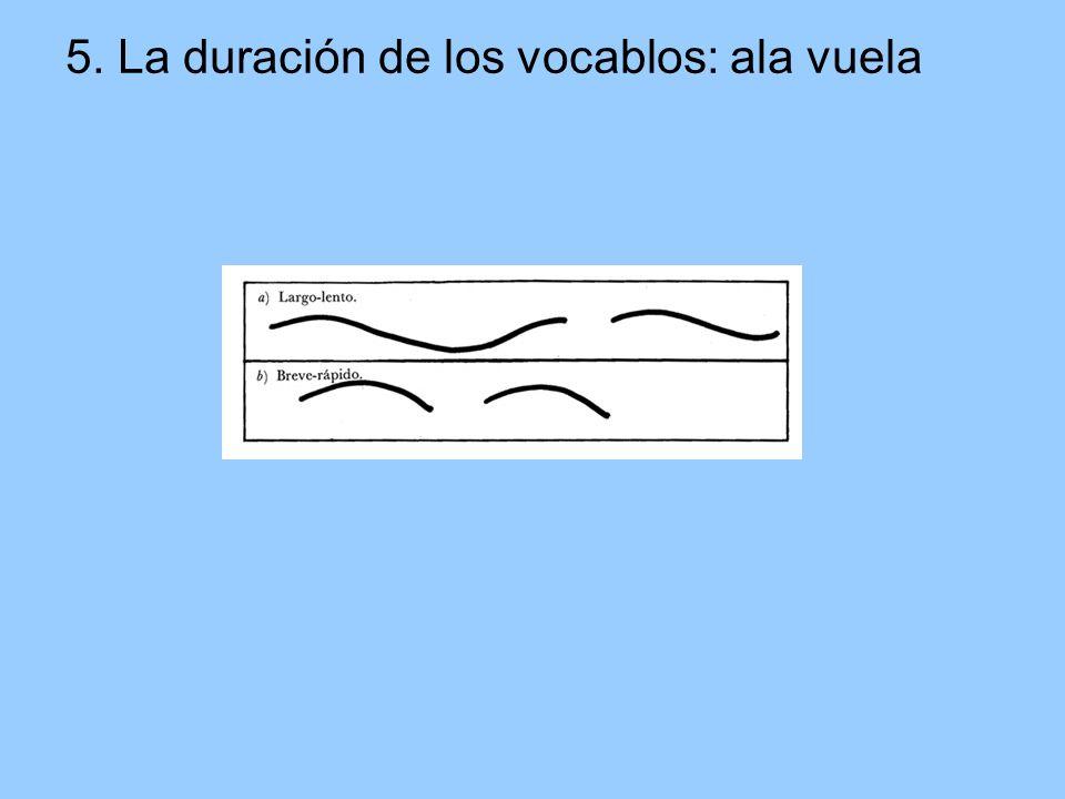 5. La duración de los vocablos: ala vuela
