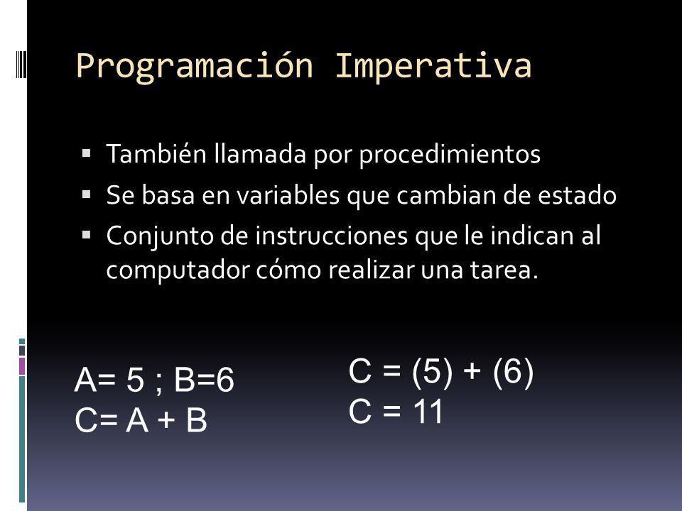 Programación Imperativa También llamada por procedimientos Se basa en variables que cambian de estado Conjunto de instrucciones que le indican al comp