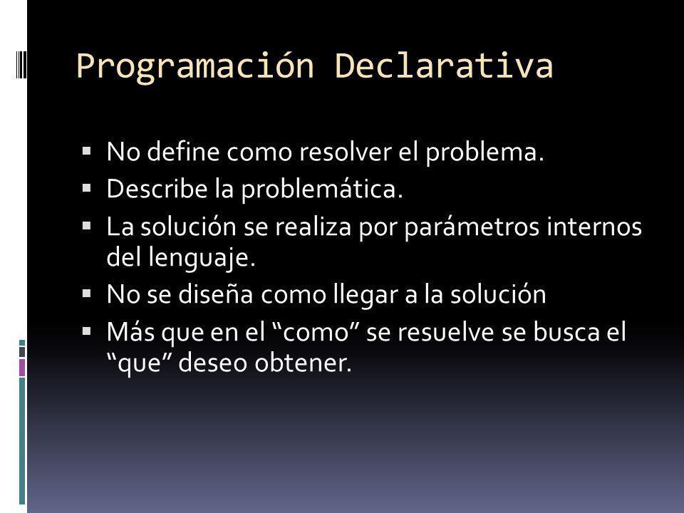 Programación Declarativa No define como resolver el problema. Describe la problemática. La solución se realiza por parámetros internos del lenguaje. N