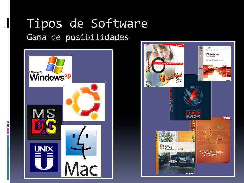 Tipos de Software Gama de posibilidades