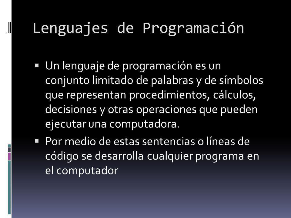 Lenguajes de Programación Un lenguaje de programación es un conjunto limitado de palabras y de símbolos que representan procedimientos, cálculos, deci