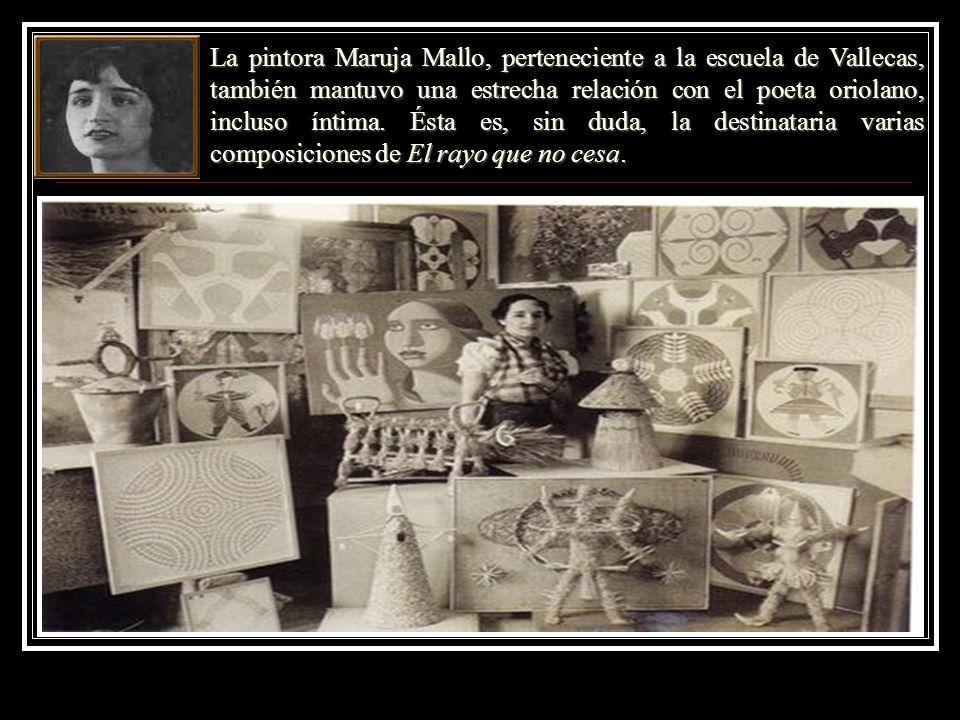 La pintora Maruja Mallo, perteneciente a la escuela de Vallecas, también mantuvo una estrecha relación con el poeta oriolano, incluso íntima. Ésta es,