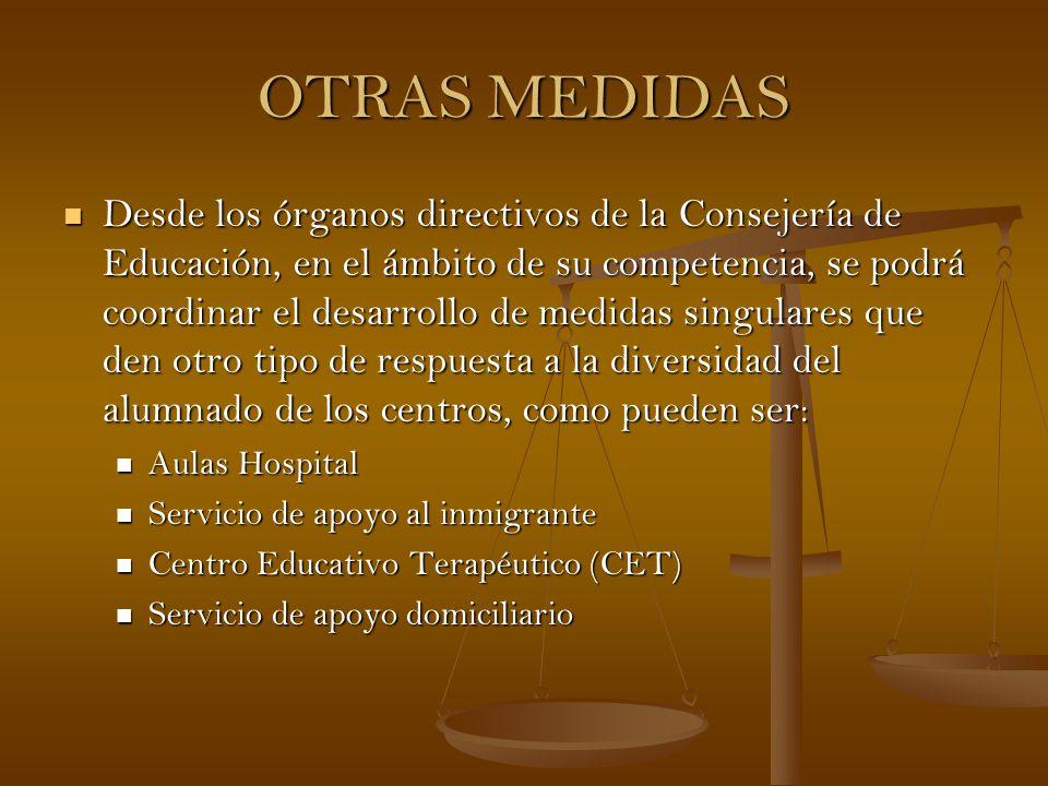 OTRAS MEDIDAS Desde los órganos directivos de la Consejería de Educación, en el ámbito de su competencia, se podrá coordinar el desarrollo de medidas