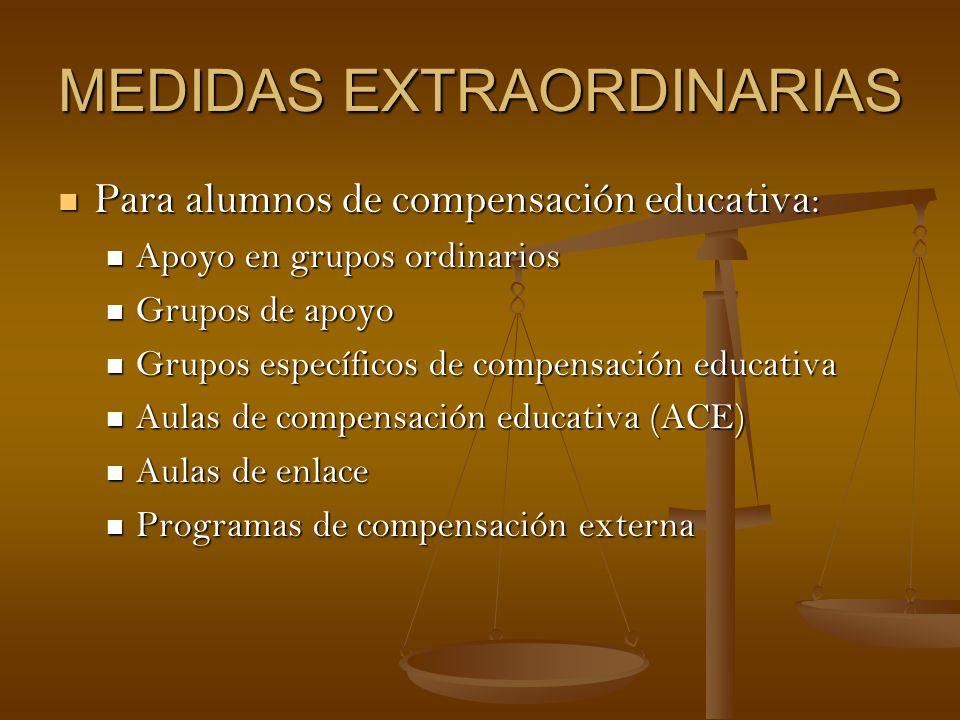 MEDIDAS EXTRAORDINARIAS Para alumnos de compensación educativa: Para alumnos de compensación educativa: Apoyo en grupos ordinarios Apoyo en grupos ord