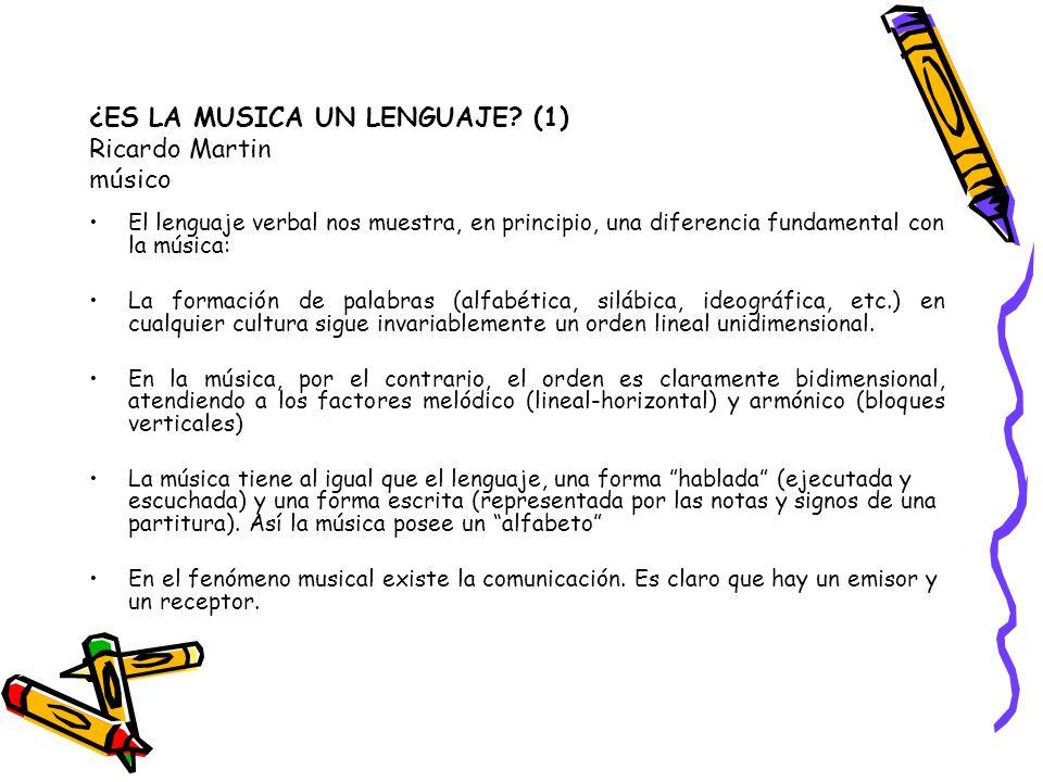 ¿ES LA MUSICA UN LENGUAJE? (1) Ricardo Martin músico El lenguaje verbal nos muestra, en principio, una diferencia fundamental con la música: La formac