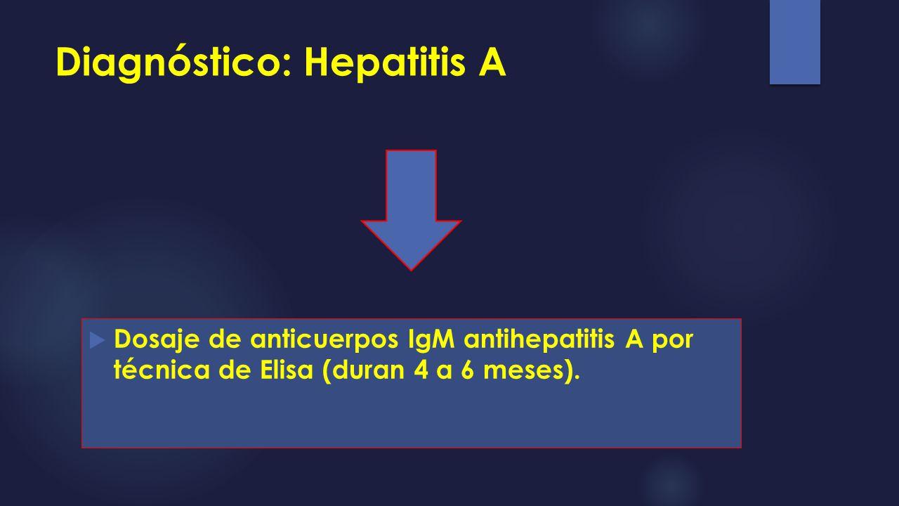 Diagnóstico: Hepatitis A Dosaje de anticuerpos IgM antihepatitis A por técnica de Elisa (duran 4 a 6 meses).