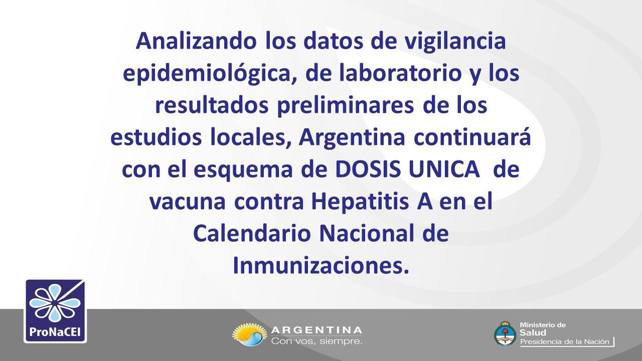 Analizando los datos de vigilancia epidemiológica, de laboratorio y los resultados preliminares de los estudios locales, Argentina continuará con el e