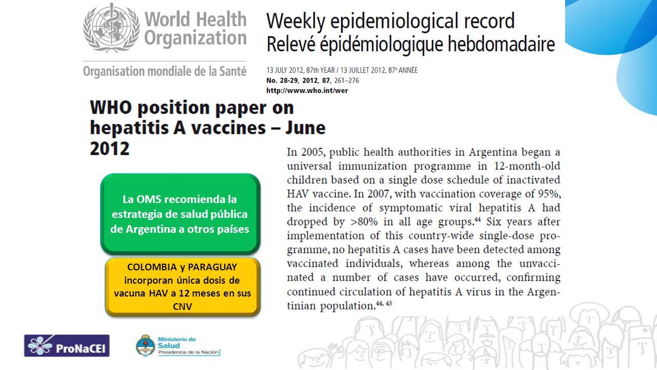 La OMS recomienda la estrategia de salud pública de Argentina a otros países COLOMBIA y PARAGUAY incorporan única dosis de vacuna HAV a 12 meses en su