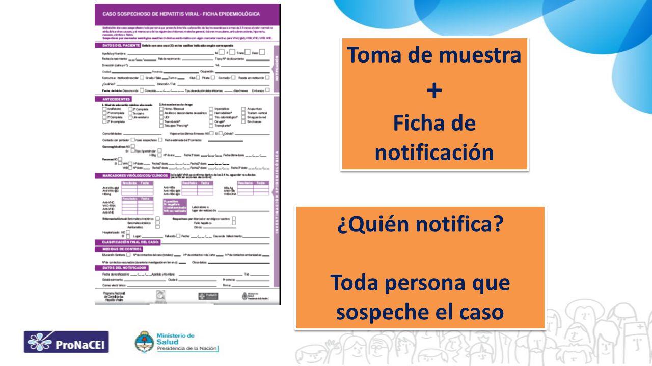 Toma de muestra + Ficha de notificación Toma de muestra + Ficha de notificación ¿Quién notifica? Toda persona que sospeche el caso ¿Quién notifica? To