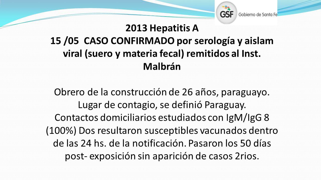 2013 Hepatitis A 15 /05 CASO CONFIRMADO por serología y aislam viral (suero y materia fecal) remitidos al Inst. Malbrán Obrero de la construcción de 2
