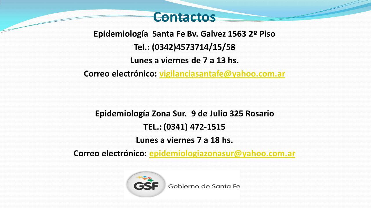 Contactos Epidemiología Santa Fe Bv. Galvez 1563 2º Piso Tel.: (0342)4573714/15/58 Lunes a viernes de 7 a 13 hs. Correo electrónico: vigilanciasantafe