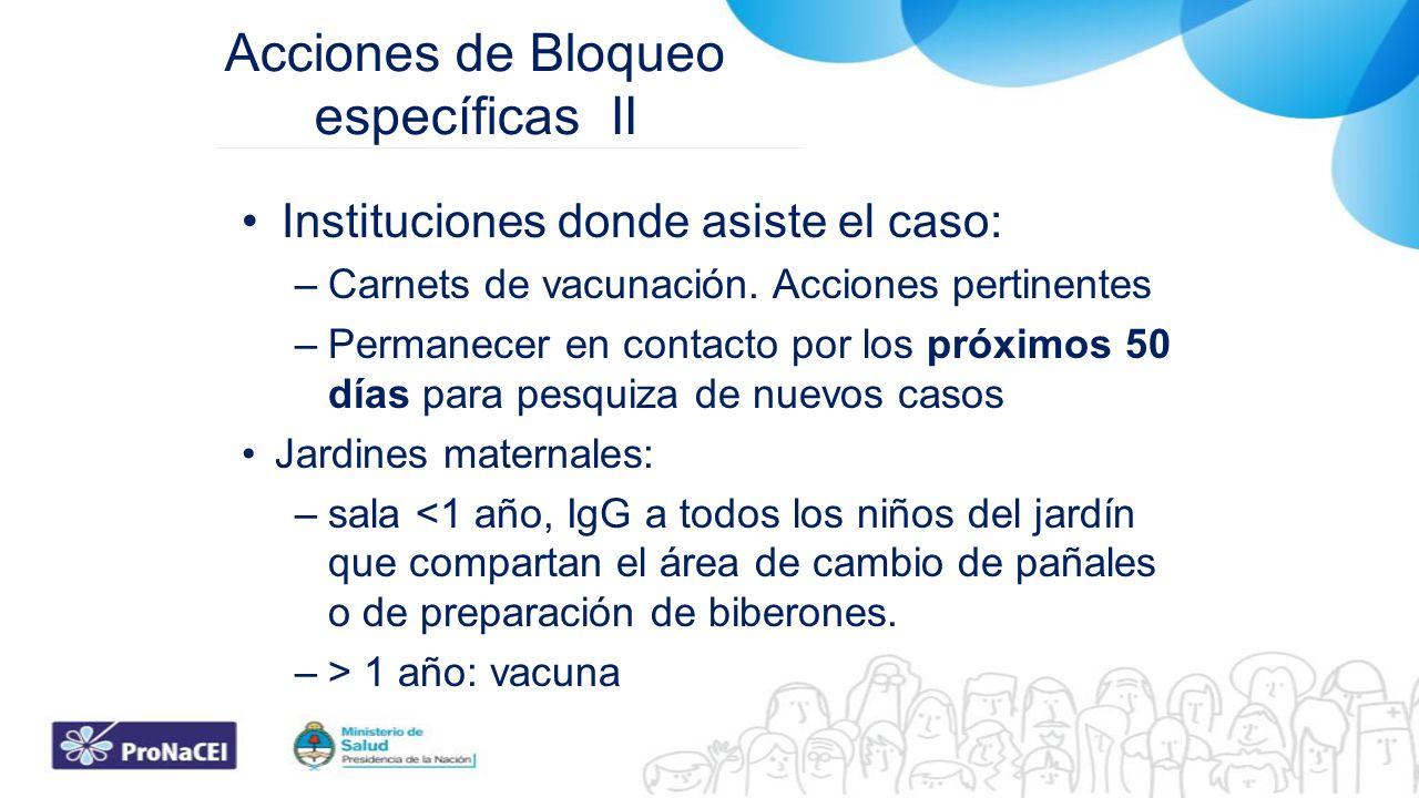 Acciones de Bloqueo específicas II Instituciones donde asiste el caso: –Carnets de vacunación. Acciones pertinentes –Permanecer en contacto por los pr