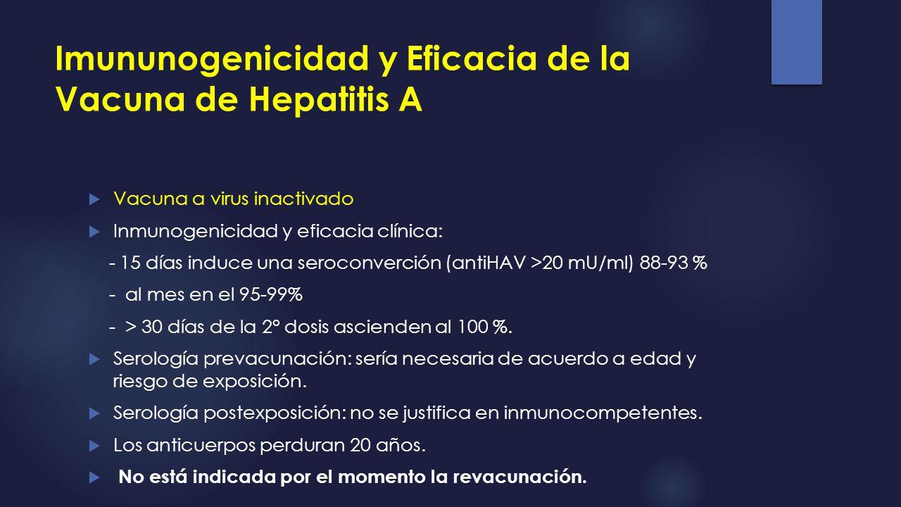 Imununogenicidad y Eficacia de la Vacuna de Hepatitis A Vacuna a virus inactivado Inmunogenicidad y eficacia clínica: - 15 días induce una seroconverc