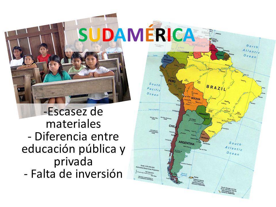SUDAMÉRICASUDAMÉRICA -Escasez de materiales - Diferencia entre educación pública y privada - Falta de inversión