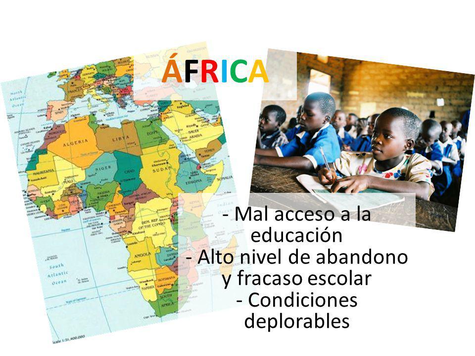 ÁFRICAÁFRICA - Mal acceso a la educación - Alto nivel de abandono y fracaso escolar - Condiciones deplorables
