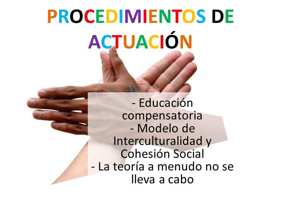 PROCEDIMIENTOS DE ACTUACIÓN - Educación compensatoria - Modelo de Interculturalidad y Cohesión Social - La teoría a menudo no se lleva a cabo