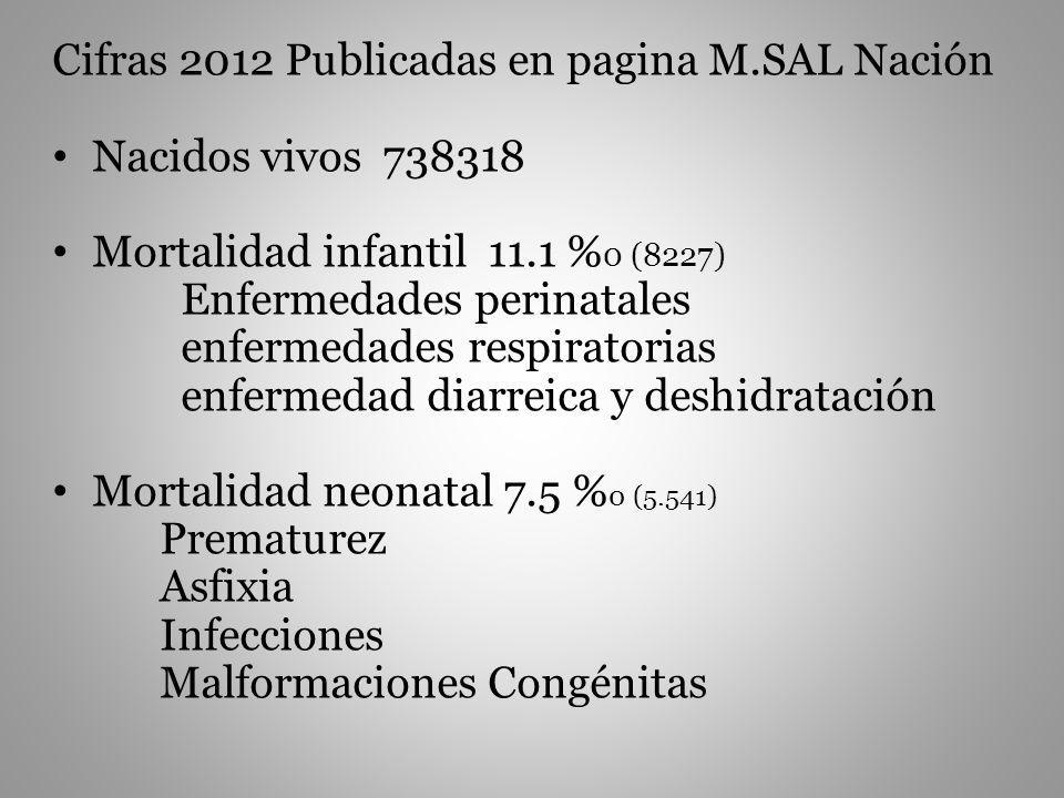 Cifras 2012 Publicadas en pagina M.SAL Nación Nacidos vivos 738318 Mortalidad infantil 11.1 % 0 (8227) Enfermedades perinatales enfermedades respirato