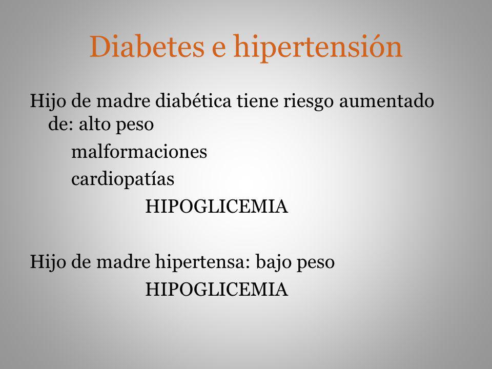 Diabetes e hipertensión Hijo de madre diabética tiene riesgo aumentado de: alto peso malformaciones cardiopatías HIPOGLICEMIA Hijo de madre hipertensa