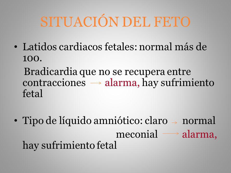 SITUACIÓN DEL FETO Latidos cardiacos fetales: normal más de 100. Bradicardia que no se recupera entre contracciones alarma, hay sufrimiento fetal Tipo