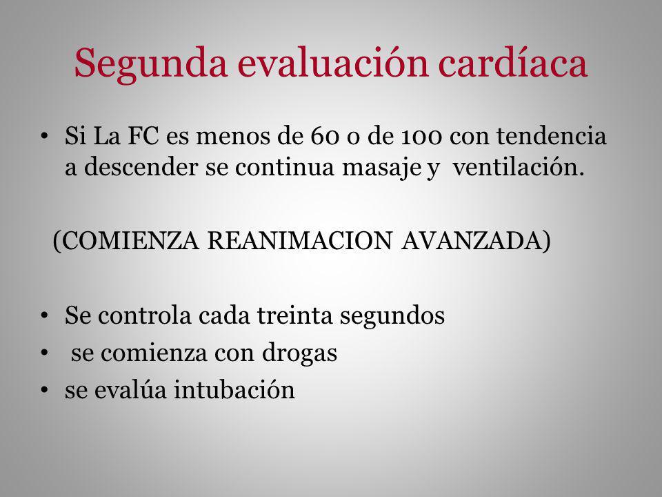 Segunda evaluación cardíaca Si La FC es menos de 60 o de 100 con tendencia a descender se continua masaje y ventilación. (COMIENZA REANIMACION AVANZAD