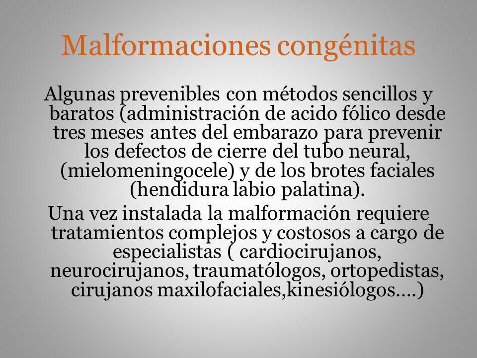 Malformaciones congénitas Algunas prevenibles con métodos sencillos y baratos (administración de acido fólico desde tres meses antes del embarazo para